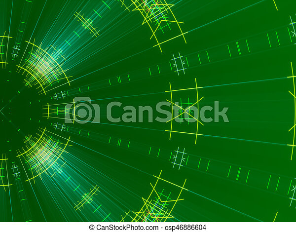 green abstract background, lines and light - csp46886604