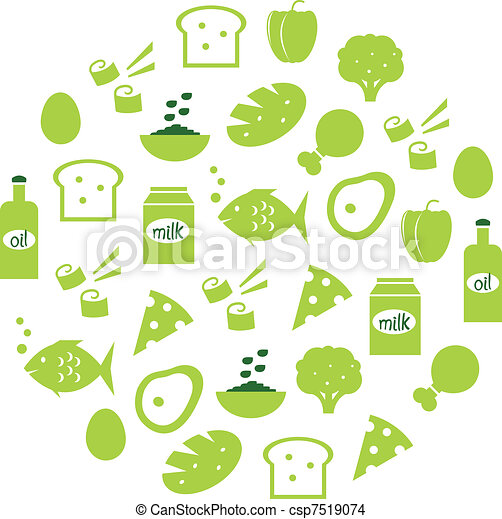 Green abstract globe with food icons ( green )   - csp7519074