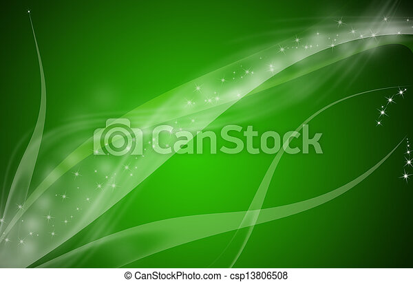 Green abstract line glowing background - csp13806508