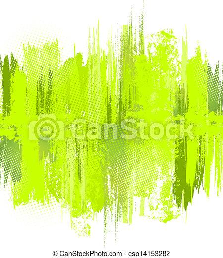 Green abstract paint splashes illustration. Vector - csp14153282