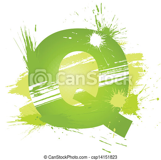 Green abstract paint splashes font. Letter Q - csp14151823
