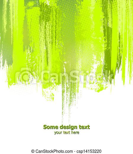 Green abstract paint splashes illustration. Vector - csp14153220