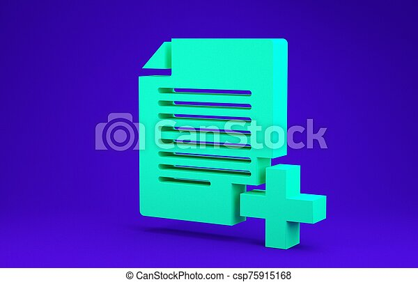 Green Add new file icon isolated on blue background. Copy document icon. Minimalism concept. 3d illustration 3D render - csp75915168