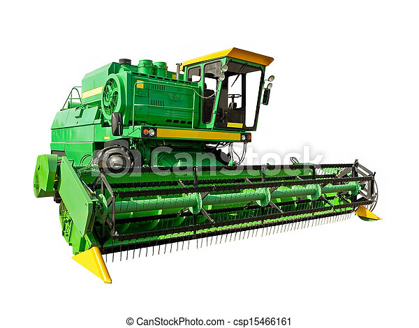 Green agricultural harvester - csp15466161
