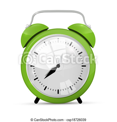 Green Alarm Clock Illustration Isolated on White Background  - csp18726039