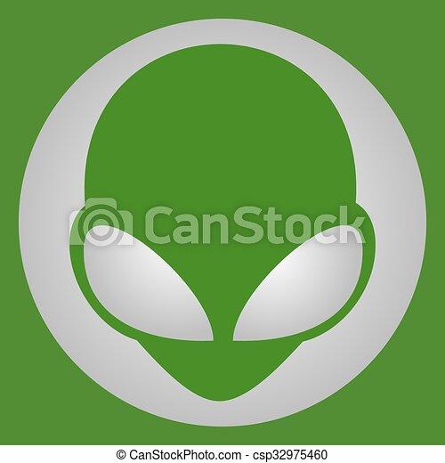 Green alien face - csp32975460