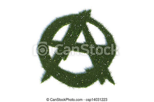 Green Anarchy Sign Series Symbols Out Of Realistic Grass