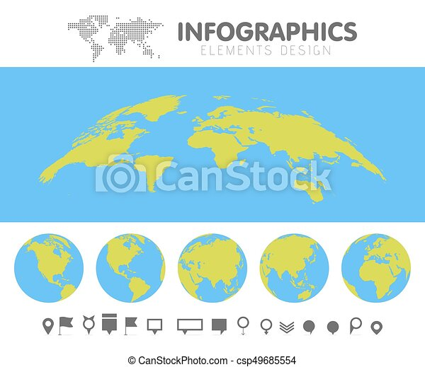 Green and blue cartoon world map globe and pins collection green and blue cartoon world map globe and pins collection set template for infographics vector gumiabroncs Image collections