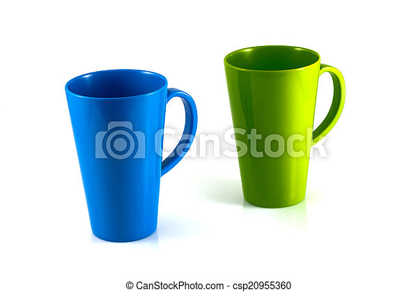 Green and blue cup isolate on white background - csp20955360