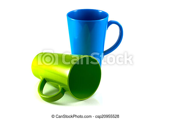 Green and blue cup isolate on white background - csp20955528
