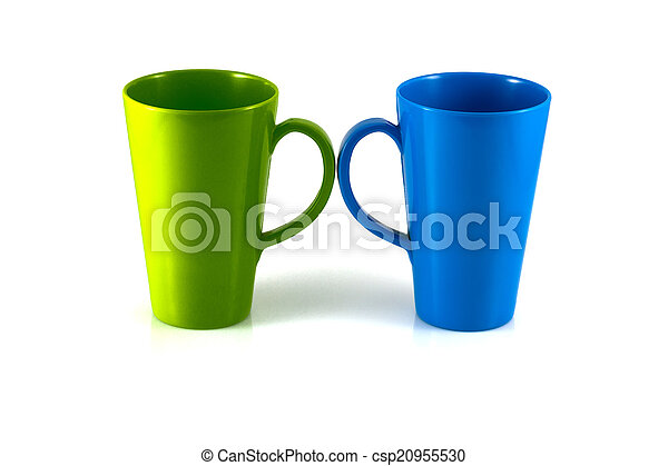 Green and blue cup isolate on white background - csp20955530