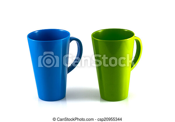 Green and blue cup isolate - csp20955344