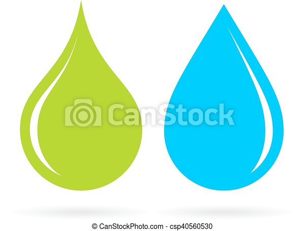 Green and blue water drops - csp40560530