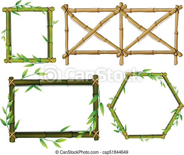 Green and brown bamboo frames illustration.