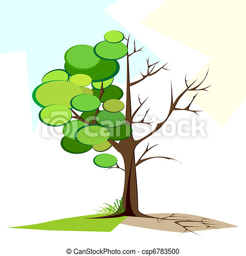 Green and Dry tree - csp6783500