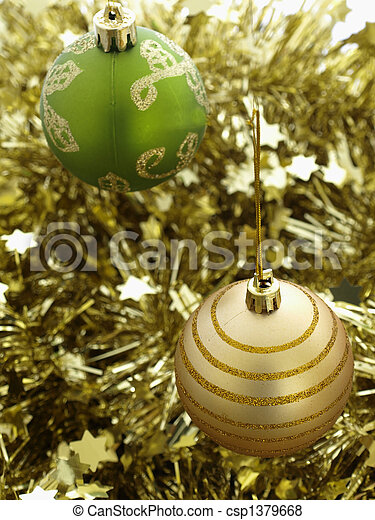 green and gold christmas decorations csp1379668