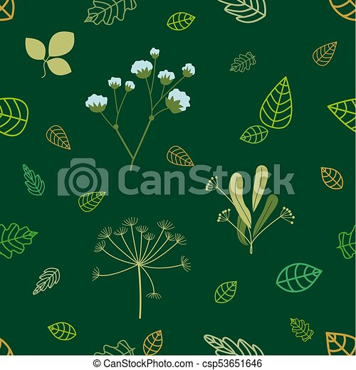Green And Golden Leaves Plants On Emerald Background Seamless Vector Pattern With Floral