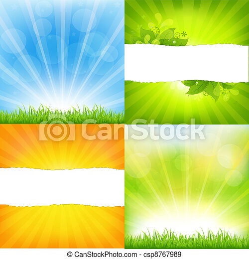 Green And Orange Backgrounds With Sunburst - csp8767989