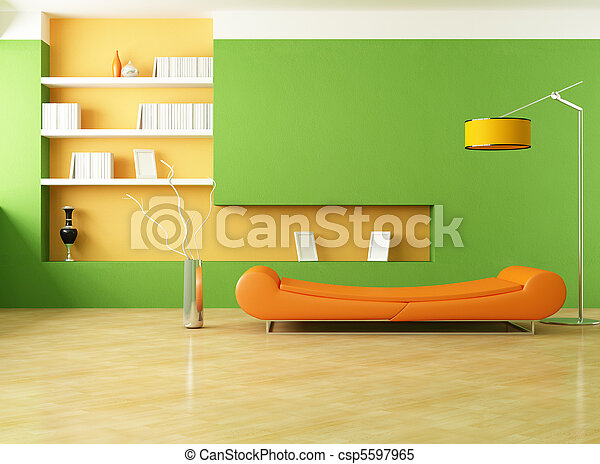 green and orange lounge