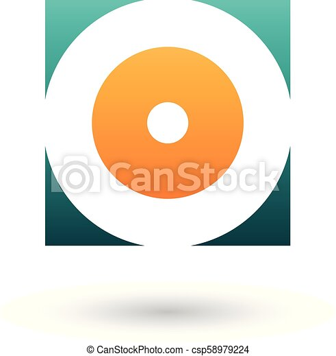 Green and Orange Square Icon of a Thick Letter O Vector Illustration - csp58979224