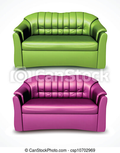 Green and pink vector sofas