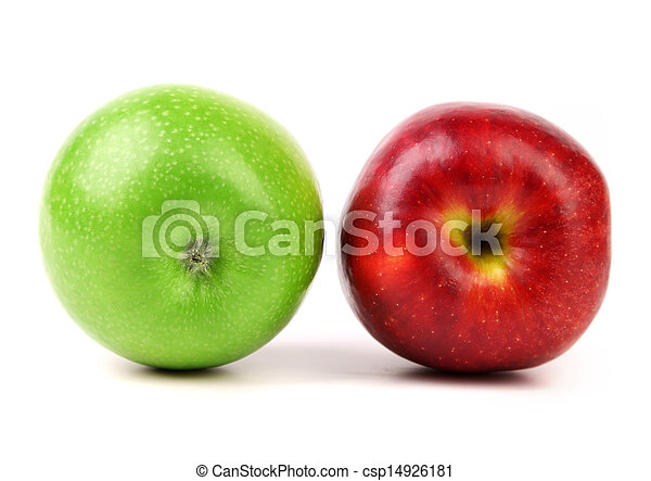 Green and red apple on white background - csp14926181