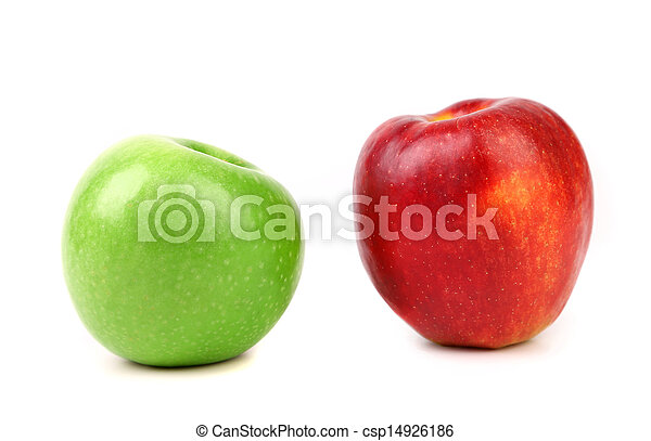 Green and red apple on white background - csp14926186
