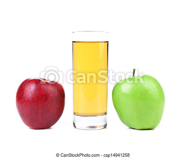 Green and red apples, juice isolated on white - csp14941258