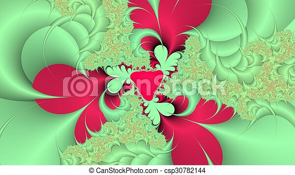 Green and red fractal background - csp30782144