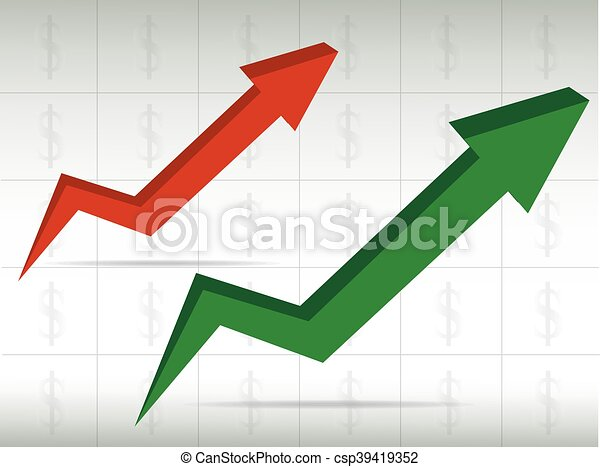 green and red graph arrow move up vector background - csp39419352