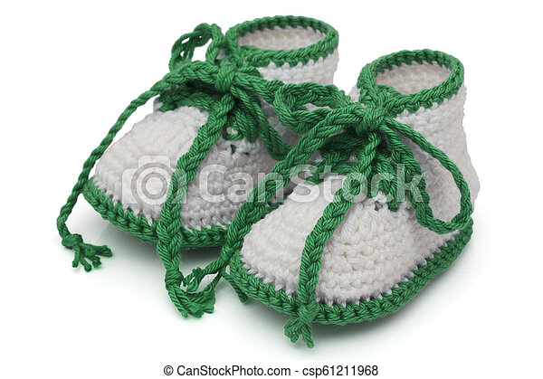 Green and White Hand-made baby booties - csp61211968