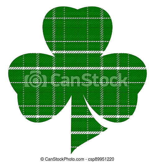 Green and White Plaid Three Leaf Clover on White Background Illustration - csp89951220