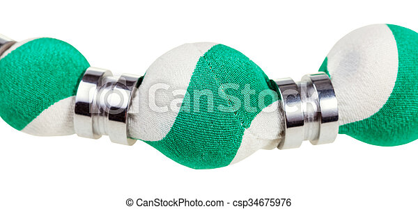 green and white silk bead close up isolated - csp34675976