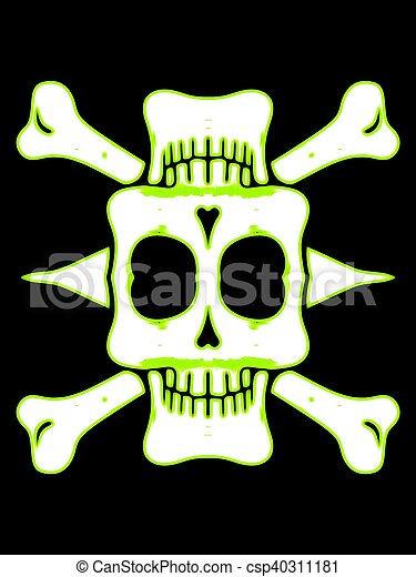 green and white skull with bones and black background - csp40311181