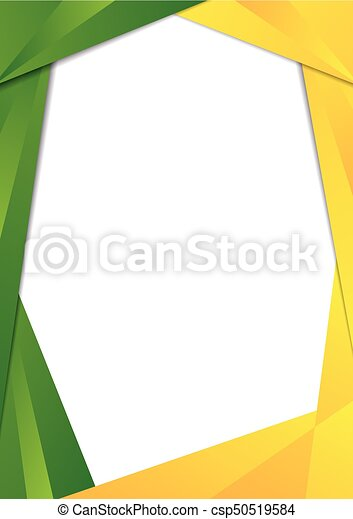 Green and yellow triangle frame border. Green and yellowgradient ...