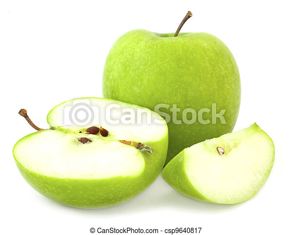 Green apple and cut segments - csp9640817