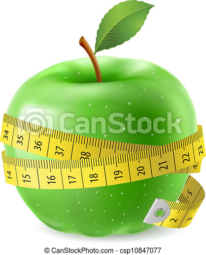 Green apple and measure tape - csp10847077