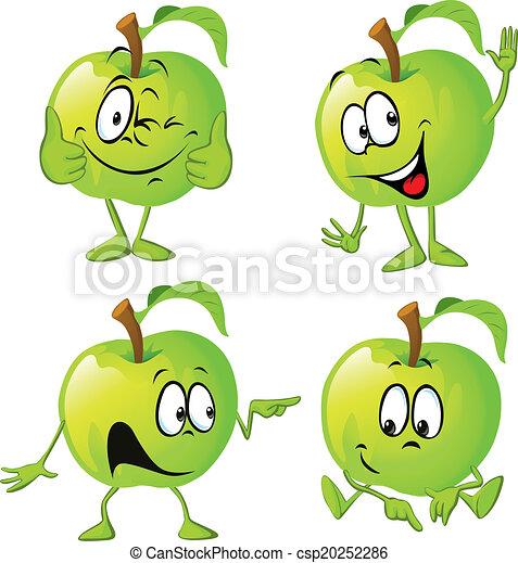 green apple cartoon with hand - csp20252286