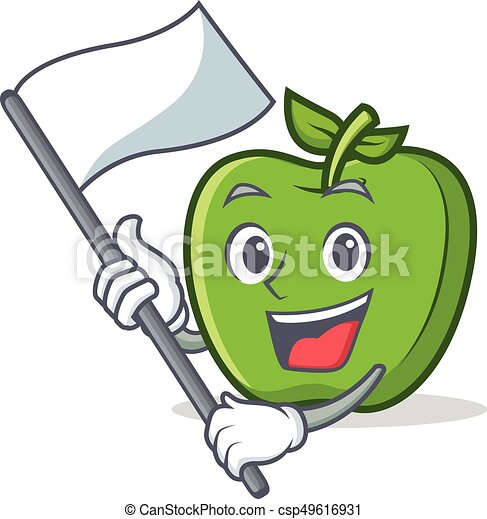 green apple character cartoon with flag - csp49616931