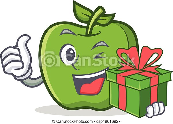 green apple character cartoon with gift - csp49616927
