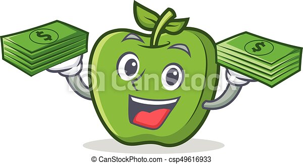 green apple character cartoon with money - csp49616933