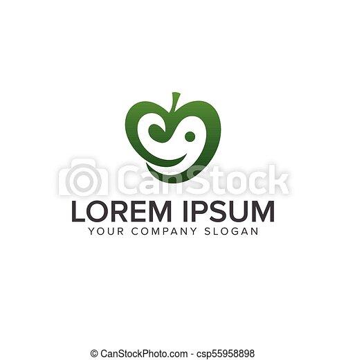 green apple logo. smile logo design concept template - csp55958898