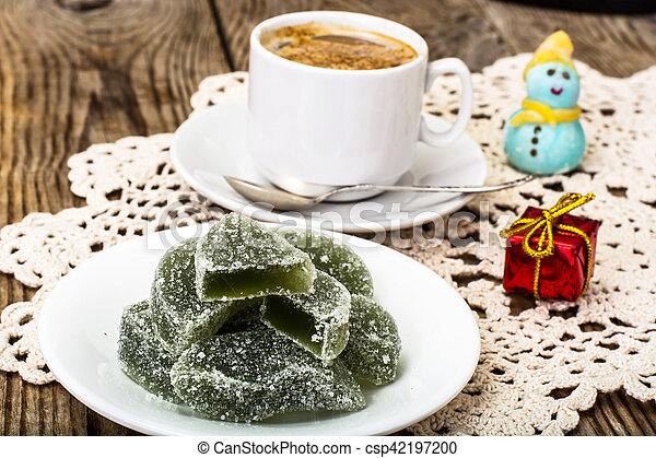 Green apple marmalade and coffee with milk - csp42197200