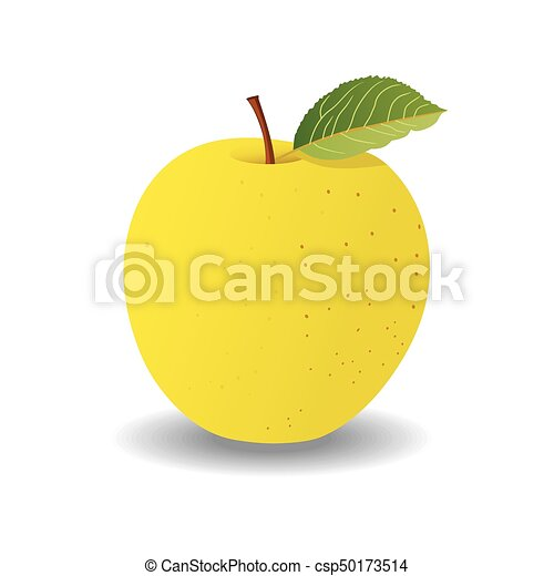 green apple on a white background. vector - csp50173514