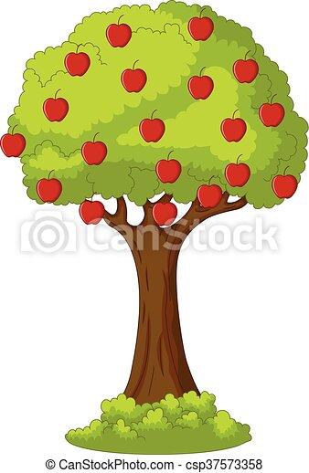 Vector Illustration Of Green Apple Tree Full Of Red Apples