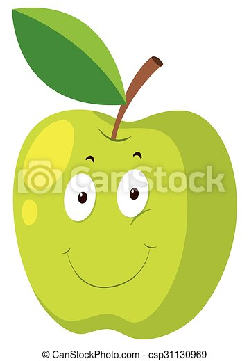 Green apple with happy face - csp31130969