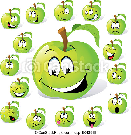 green apple with many expressions - csp19043918