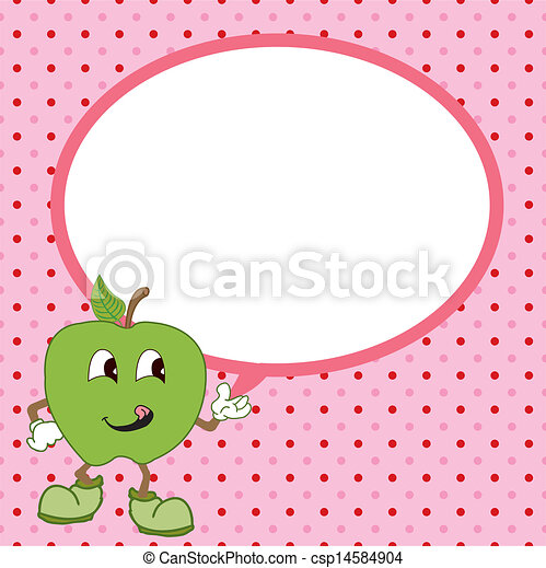 green apple with speech bubble vect - csp14584904