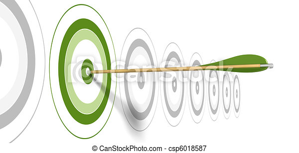 green arrow, hitting the center of green target with grey targets at the background - csp6018587