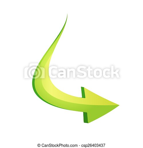 Green arrow in curve style - csp26403437